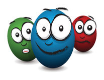 Cartoon coloured egg faces Royalty Free Stock Photo