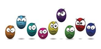 Cartoon coloured egg faces Royalty Free Stock Photos