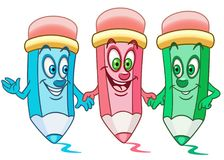 Cartoon colouring pencils Royalty Free Stock Image