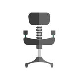 Cartoon comfortable simple black office chair isolated illustration. Comfortable office chair with black leather upholstery, iron spine and leg isolated vector Royalty Free Stock Photos