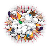 Cartoon Comic Book Fight Dust Cloud. A cartoon comic book style fight dust cloud with people fighting with just fists, hands and legs visible Stock Photo