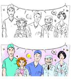 Cartoon comic frame with medical workers Stock Images
