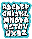 Cartoon comic graffiti doodle font alphabet. Vector Royalty Free Stock Photo