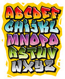 Cartoon comic graffiti doodle font alphabet. Vector Stock Photos