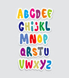 Cartoon comic graffiti font alphabet. Vector Stock Image