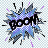 Cartoon comic graphic design for explosion blast dialog box background with sound BOOM. Vector Royalty Free Stock Photography