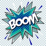 Cartoon comic graphic design for explosion blast dialog box background with sound BOOM. Vector Royalty Free Stock Image