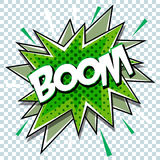 Cartoon comic graphic design for explosion blast dialog box background with sound BOOM. Vector Stock Photos