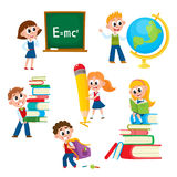 Cartoon, comic kids, children at school Stock Photography