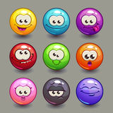 Cartoon comic round faces set Royalty Free Stock Photo
