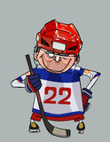 Cartoon comic smiling hockey player with a stick stands with arms akimbo Stock Photos