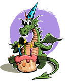 Cartoon, comic style green dragon in a festive cap, with birthday cake with candles. Vector illustration Stock Images