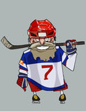 Cartoon comical bearded hockey player with hockey stick Stock Images