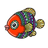 Cartoon comics sea or river fish. Vector hand drawing isolated linear illustration in sketch style Stock Images