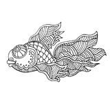 Cartoon comics sea or river fish. Vector hand drawing  linear illustration in sketch style Stock Image