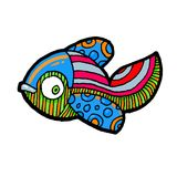 Cartoon comics sea or river fish. Vector hand drawing isolated linear illustration in sketch style Royalty Free Stock Images