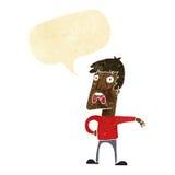 Cartoon complaining man with speech bubble Stock Photo
