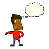 Cartoon complaining man with thought bubble Royalty Free Stock Photography