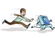 Cartoon computer being chased. Illustration of a blue cartoon computer being chased by a male businessman character on  isolated white background Royalty Free Stock Images