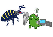 Cartoon computer bug virus attack. Vector hand drawn cartoon illustration of a green dragon monster mascot character, sword and fly swatter in hand, protecting Stock Photography