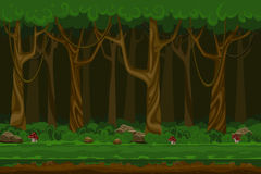Cartoon computer games night forest landscape. Plant green, natural environment, wood and grass, vector illustration Stock Photography