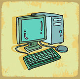 Cartoon computer illustration, vector icon. Royalty Free Stock Photo
