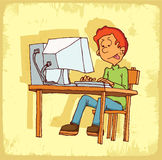 Cartoon computer internet illustration, vector icon Royalty Free Stock Photography