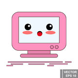 Cartoon computer monitor in pink color. Icon isolated on white background. Stock Photo