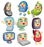 Cartoon computer and phone face icon Stock Images