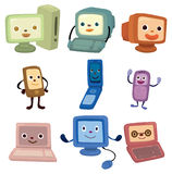 Cartoon computer and phone face icon. Drawing Royalty Free Stock Images
