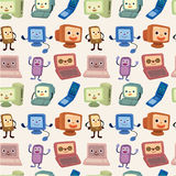 Cartoon computer and phone set seamless pattern. Drawing Stock Photography