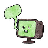 Cartoon computer screen with speech bubble Stock Image