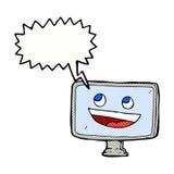 Cartoon computer screen with speech bubble Royalty Free Stock Photo