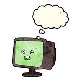Cartoon computer screen with thought bubble Stock Images