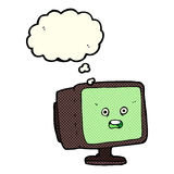 Cartoon computer screen with thought bubble Royalty Free Stock Photos