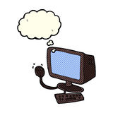 Cartoon computer with thought bubble Royalty Free Stock Image