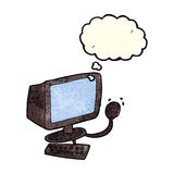 Cartoon computer with thought bubble Stock Photo