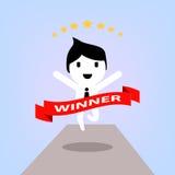 Cartoon concept happy winner businessman Stock Image