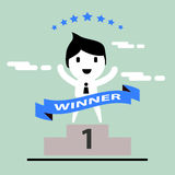 Cartoon concept happy winner businessman Royalty Free Stock Photos