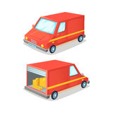 Cartoon concept of transportation truck. Delivery van front and back view . Vector illustration. Cartoon concept of transportation truck. Delivery van front and Stock Photos