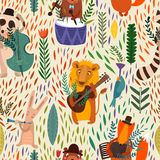 Cartoon  concept wallpaper. Raccoon, lion, bear, hare, rabbit and fox playing on musical instruments Stock Photos