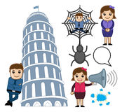 Cartoon Concepts Characters Vectors. Cartoon Business People with Memorial Building and Many More Concepts Vector Illustrations stock illustration