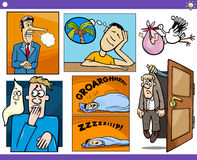 Cartoon concepts and ideas set. Illustration Set of Humorous Cartoon Concepts or Ideas and Metaphors with Funny Characters Royalty Free Stock Image