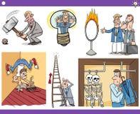 Cartoon concepts and sayings set Stock Image