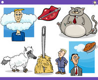 Cartoon concepts and sayings set Stock Images
