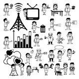 Cartoon Concepts Vectors of Communication and Professions Stock Image