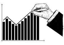 Cartoon of Hand Drawing Histogram Financial Chart or Graph. Cartoon conceptual illustration of hand drawing histogram financial chart, graph or diagram. Business Stock Image