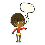 cartoon concerned woman reaching out with speech bubble Royalty Free Stock Photo