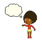 cartoon concerned woman reaching out with thought bubble Royalty Free Stock Images