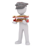 Cartoon Conductor Holding Small Red Trolley Stock Images